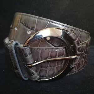 "Ann Taylor, 37"" Gray Crocodile Print Leather Belt"